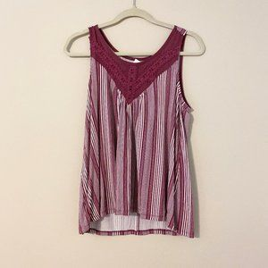 Maurices plum striped tank size small